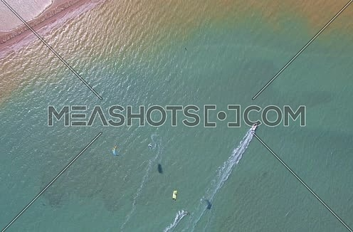 Drone shot flying over  Al Gouna beach for Kite Surfing area  at Day