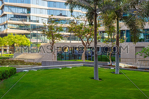 Contemporary urban city district with well run glass building and verdant lawn and trees on sunny day