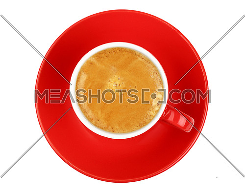 One full morning espresso coffee shot with crema in small red cup with saucer isolated on white background, top view