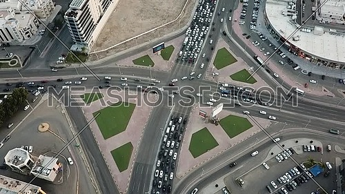 drone Top view of Prince Sultan Street and Batarji Street in jeddah, saudi arabia