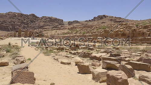 Pan of rubble in ancient city of Petra