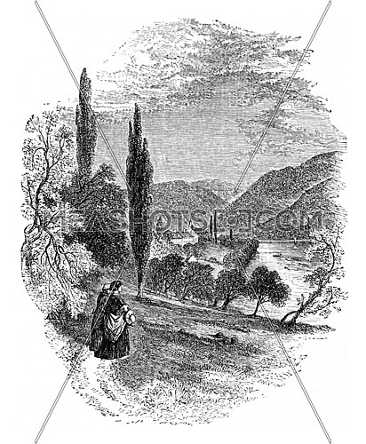 Neuburg Abbey, vintage engraved illustration. From Chemin des Ecoliers, 1861.