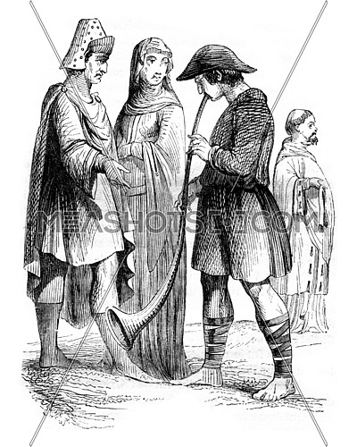 Nineteenth century, Bourgeoisie, Musician and Chanoine, vintage engraved illustration. Magasin Pittoresque 1843.