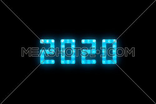 Close up blue neon glowing bright led light 2020 year sign on black background