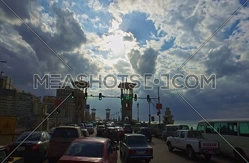 Drive thru shot for traffic on Stanly Bridge at Alexandria at day