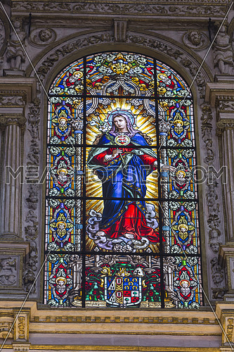 CORDOBA, SPAIN - September, 27, 2015: Interior of Mezquita-Catedral, Detail of stained glass window of the cathedral mosque of cordoba, UNESCO World Heritage Site, Cordoba, Spain