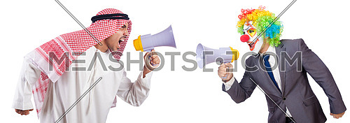 Businessman clown with loudspeaker on white