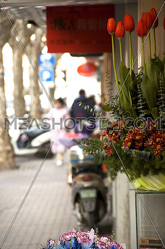 bounch of fresh flowers on shanghai  road  dof