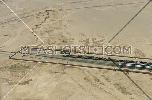 Arial shot for railway at Suez at day