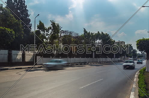 Track Right Shot for traffic at Salah Salim Street at Daytime