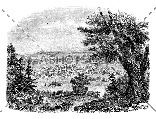 View of Chaux de Fonds, vintage engraved illustration. Magasin Pittoresque 1852.