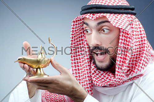 Arab and ancient golden lamp