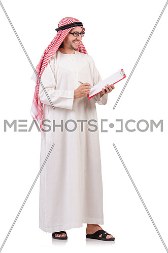Arab man with binder isolated on white