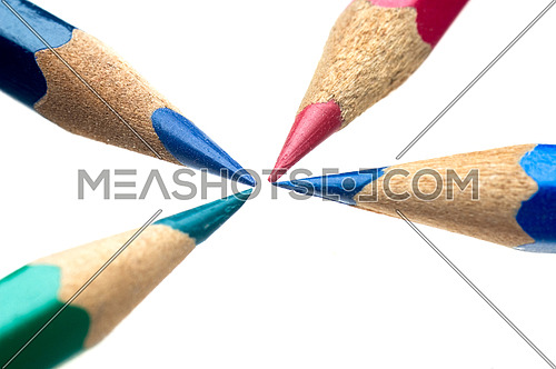 coulor wooden sharpened  pencils over white background