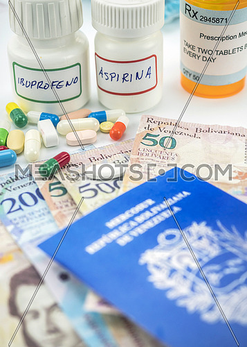 Medicines next to banknotes of Venezuela, shady deal of medication in full crisis of country of Latin America, conceptual image