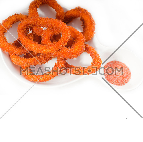 deep fried calamari rings with seasoning over white MORE DELICIOUS FOOD ON PORTFOLIO