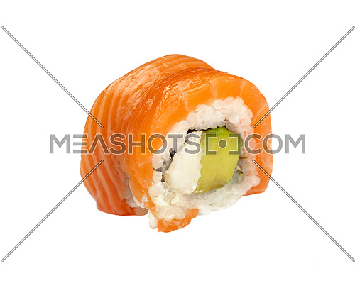 Close up one Philadelphia sushi roll with raw salmon isolated on white background, high angle side view