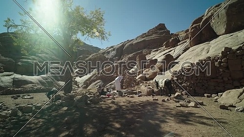 Reveal shot for Ain hudra at Sinai Mountain at day.