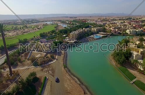 Drone shot flying through Al Gouna  at Day