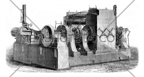 Electrodynamic Edison Machine, vintage engraved illustration. Magasin Pittoresque (1882).