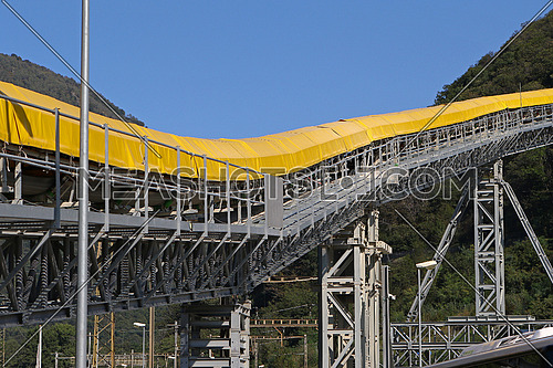 Conveyor belt detail on mining site