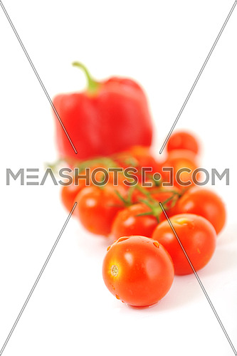 red tomato and paprika vegetable isolated on white background