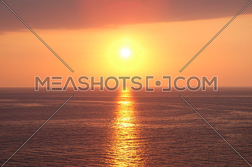 Sunset near Baku at the Caspian  Sea