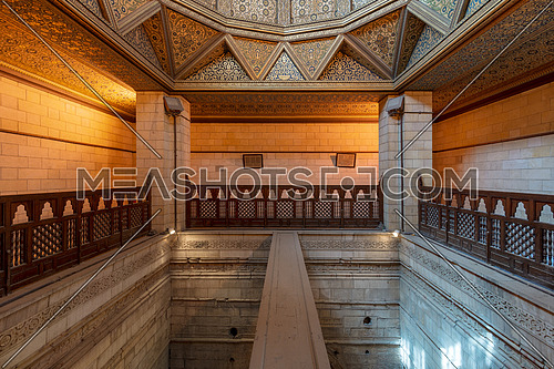 Interior of Nilometer building, an ancient Egyptian water measurement device dates from 715 AD, used to measure the level of river Nile, located in Rhoda Island, River Nile, Cairo, Egypt
