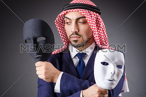 Arab with masks in dark studio