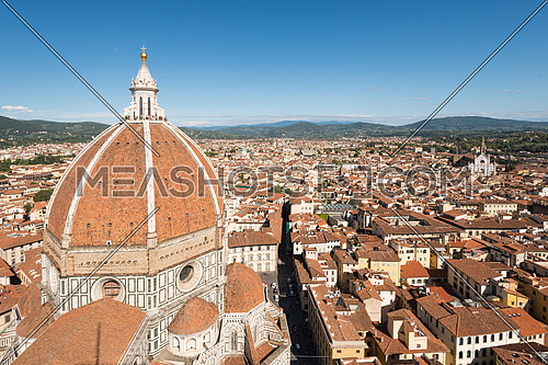 In the picture the cathedral of Santa Maria del Fiore and Florence town view from the bell tower of Giotto.