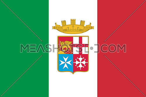 Italy Flag. Official colors and proportion with Naval Ensign. National Flag of Italy illustration