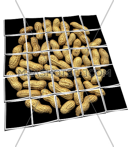 peanuts on black background collage composition of multiple images over white
