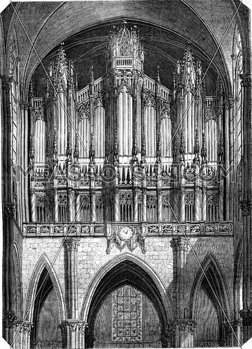 The organ of the church of Saint Denis, vintage engraved illustration. Magasin Pittoresque 1845.