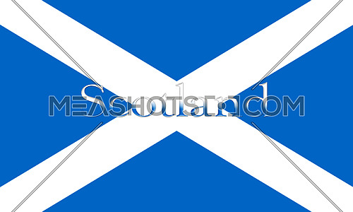 Flag Of Scotland With Country Name On It 3D illustration