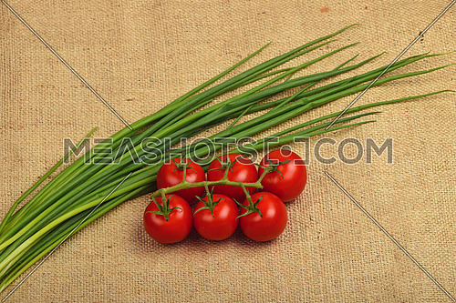Bunch of six red ripe cherry tomato and fresh spring bunching onion shots at jute canvas burlap background