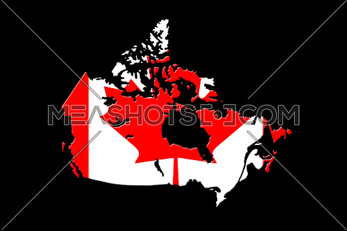 Canadian Map With National Flag On It On Black Background 3D Rendering