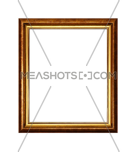 Vintage old wooden classic bronze and golden painted vertical rectangular frame for picture or photo, isolated on white background, close up