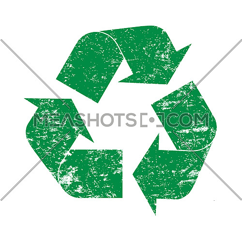 Green grunge recycling logo icon vector illustration, isolated on white background
