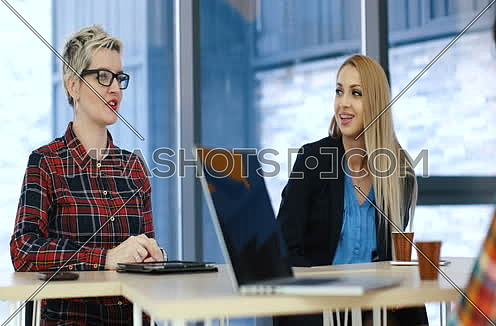 team meeting in modern start up office with woman leading meeting