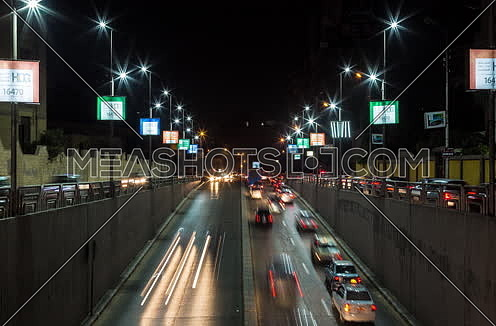 Zoom IN for traffic from above  Al Thawra Tunnel at Night