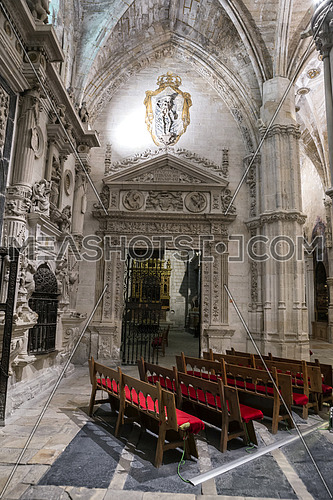 CUENCA, SPAIN - August 24, 2016: Inside of the Cathedral of basin, Chapel of them Knights, the factory of the Chapel is conformed, being its structure Gothic and the decoration plateresque, basin, heritage of the humanity, Spain