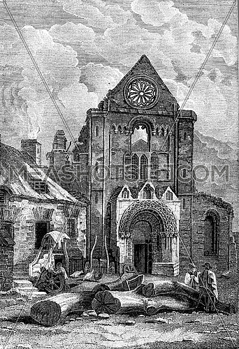 Ruins of Jedburgh Abbey in Scotland, vintage engraved illustration. Colorful History of England, 1837.