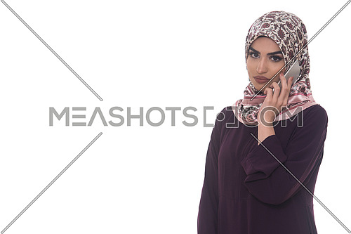 Pretty Arabian Woman Using Cell Phone Isolated On White Background