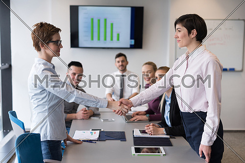 businesswomans handshake on team meeting  with group of people blured in background at modern startup business office interior