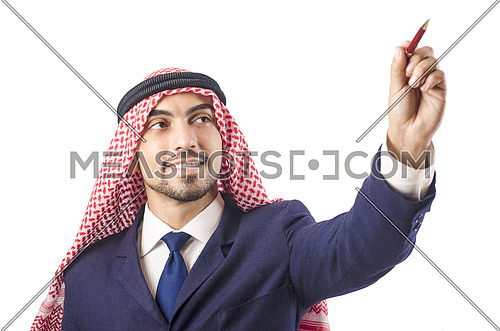 Arab man pressing virtual buttons