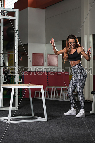 Fit Young Woman Doing Box Jumping At A Style Gym - Female Athlete Is Performing Box Jumps At Gym