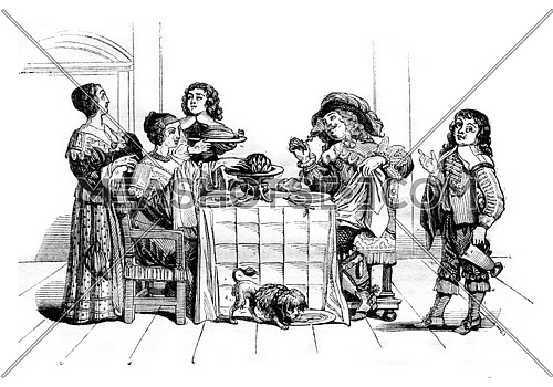 Ten mores of seventh century, Meals and table service, after Abraham Bosse, vintage engraved illustration. Magasin Pittoresque 1836.