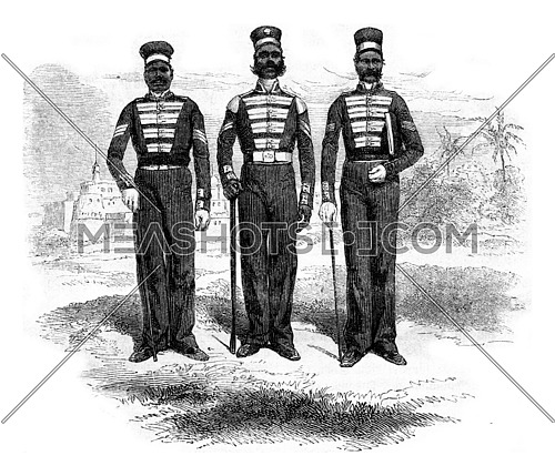 Bengal sepoys three NCOs, Red and white uniform, blue or white pants, white frogs, vintage engraved illustration. Magasin Pittoresque 1857.