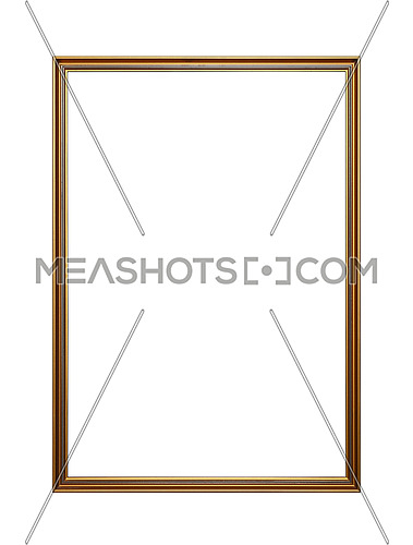 Simple vintage old wooden classic golden painted vertical rectangular frame for picture or photo, isolated on white background, close up