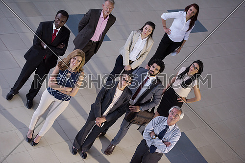 top view of multi ethnic  business people group as team  on meeting at modern  office